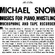SNOW, MICHAEL - MUSIC FOR PIANO, WHISTLING, MICROPHONE... (2LP)